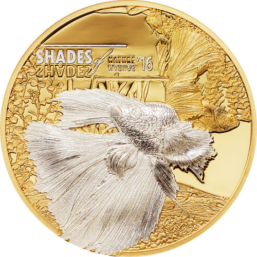 2016 Shades of Nature - SIAMESE FIGHTING FISH $5 Silver Coin - Cook Islands