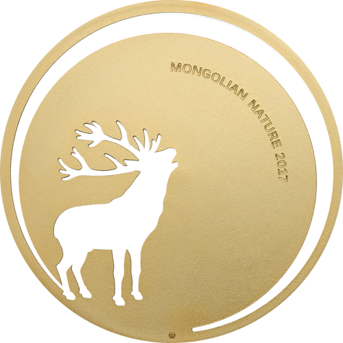 2017 Mongolian Nature - ROARING DEER 500 Tugriks Silver & Gold Coin - Mongolia