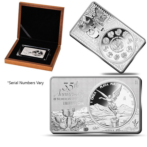 2017 3 oz 35th Anniversary Libertad Silver Bar and Coin Set Box COA