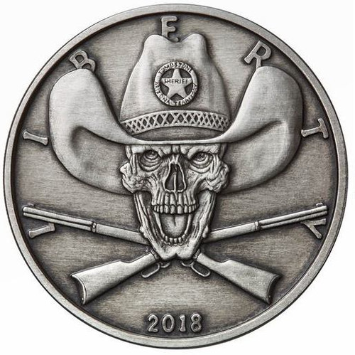 2018 1 oz .999 Silver ANTIQUED Round Western Skulls SHERIFF**