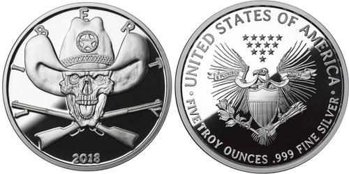 2018 5 oz .999 Silver PROOF Round Western Skulls SHERIFF