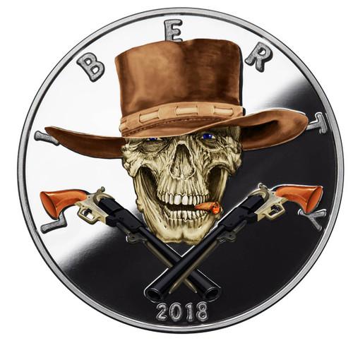 2018 1 oz .999 Silver COLORIZED Round Western Skulls GUNSLINGER