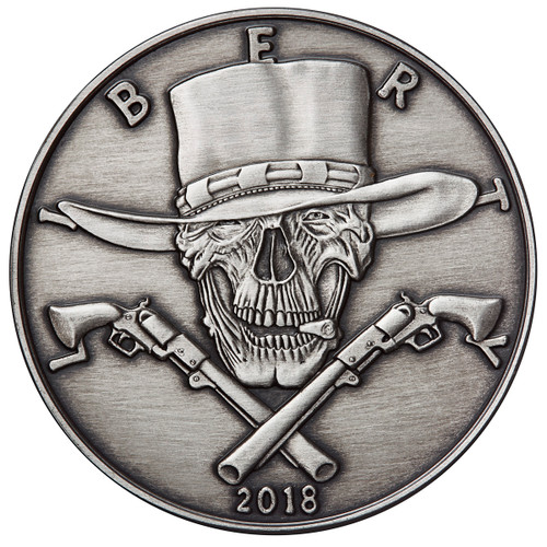 2018 1 oz .999 Silver ANTIQUED Round Western Skulls GUNSLINGER