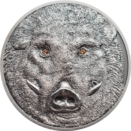 2018 MONGOLIA 1 Oz Silver WILD BOAR SUS SCROFA Antique Finish Coin
