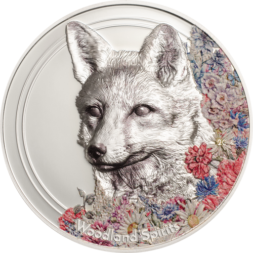 2018 MONGOLIA 1 Oz PROOF Silver 500Togrog WOODLAND SPIRITS FOX Coin