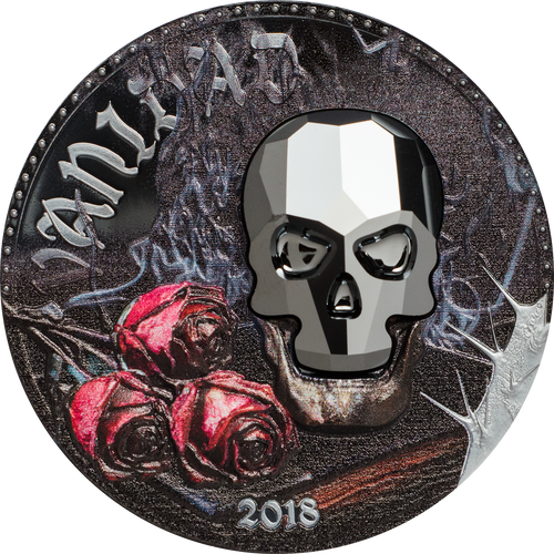 2018 GUINEA 1 Oz PROOF Silver CRYSTAL SKULL VANITY Coin