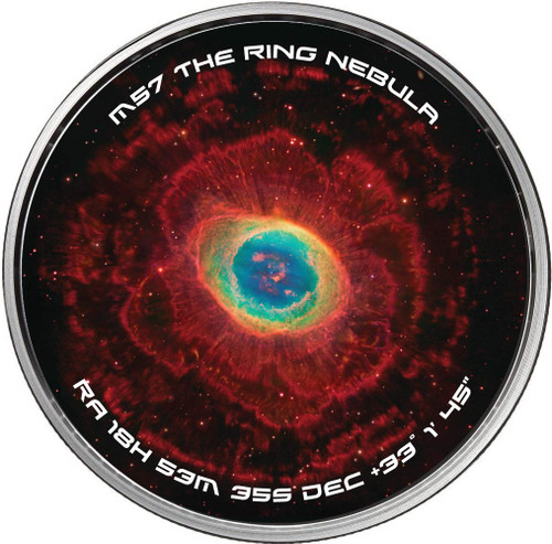 """M57 THE RING NEBULA"" Galaxies and Nebulae Spinners, 1 oz .999 Silver Round"