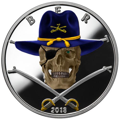 2018 1 oz .999 Silver COLORIZED Round Western Skulls CAVALRYMAN