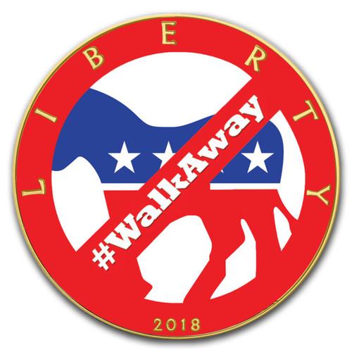 2018 1 oz .999 Silver w/Gold COLORIZED American Silver Eagle #WALKAWAY Trump Politics Coin