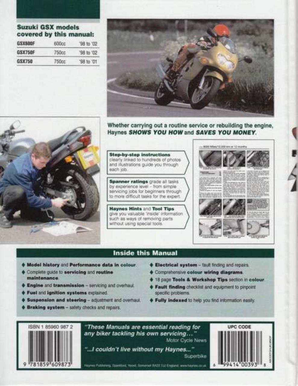 Buy Suzuki GSX600F, GSX750F, GSX750 1998 - 2002 Workshop Manual