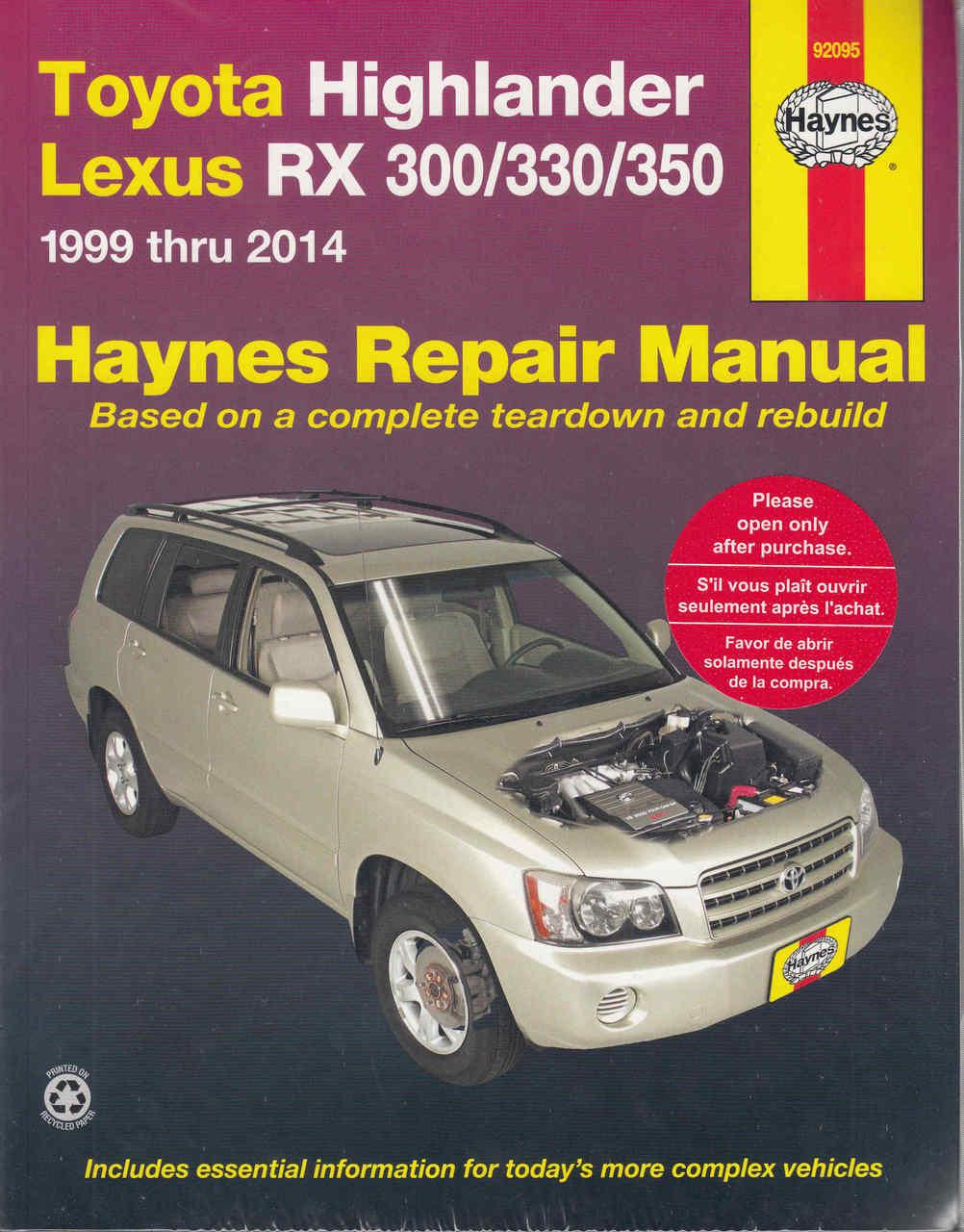 toyota kluger highlander lexus rx300 rx330 rx350 1999 2014 rh automotobookshop com au 2000 lexus rx300 service manual lexus rx 300 service manual