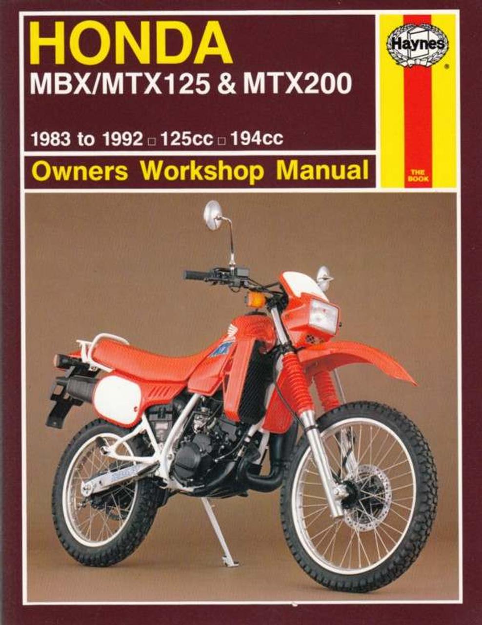 honda mbx mtx125 mtx200 125cc 194cc 1983 1992 workshop manual rh automotobookshop com au Honda 125 Dirt Bike Honda NX 125