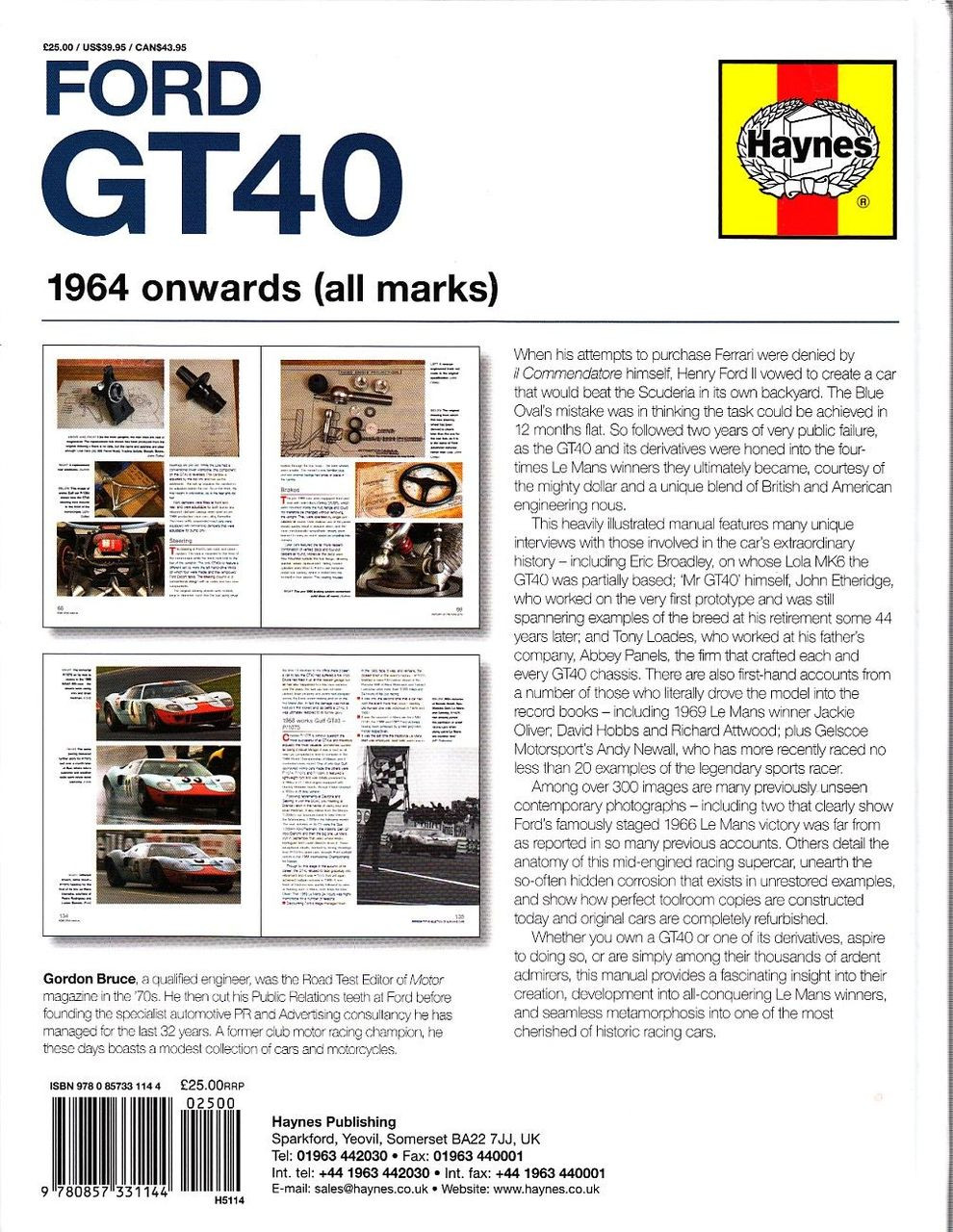 Ford Gt  Onwards Owners Workshop Manual Back Cover