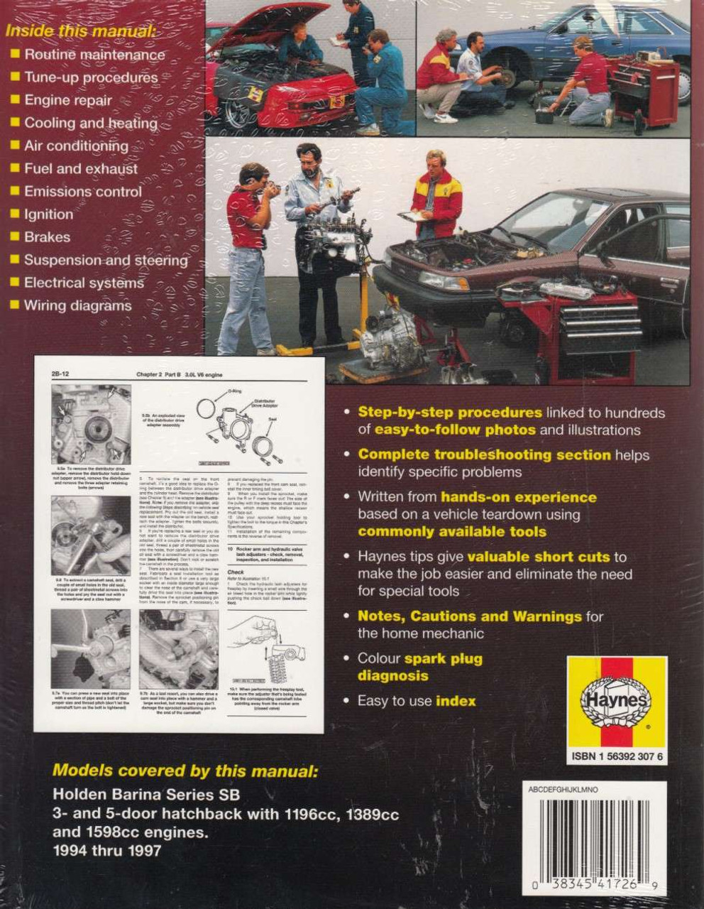 ... Holden Barina Series SB 1994 - 1997 Workshop Manual Back Cover