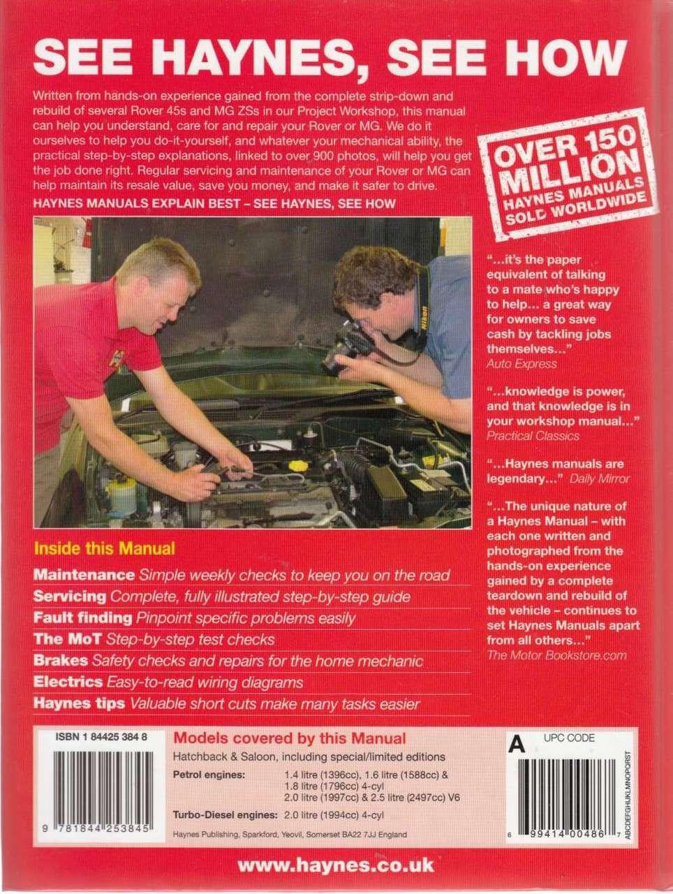 rover 45 mg zs petrol diesel 1999 2005 workshop manual rh automotobookshop com au mg zs workshop manual mg zr workshop manual