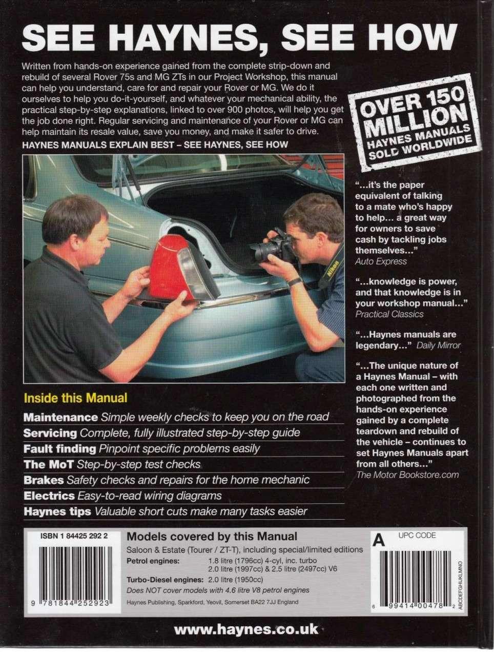 Rover 75 Mg Zt Petrol Diesel 1999 2006 Workshop Manual 45 Wiring Diagram Back Cover