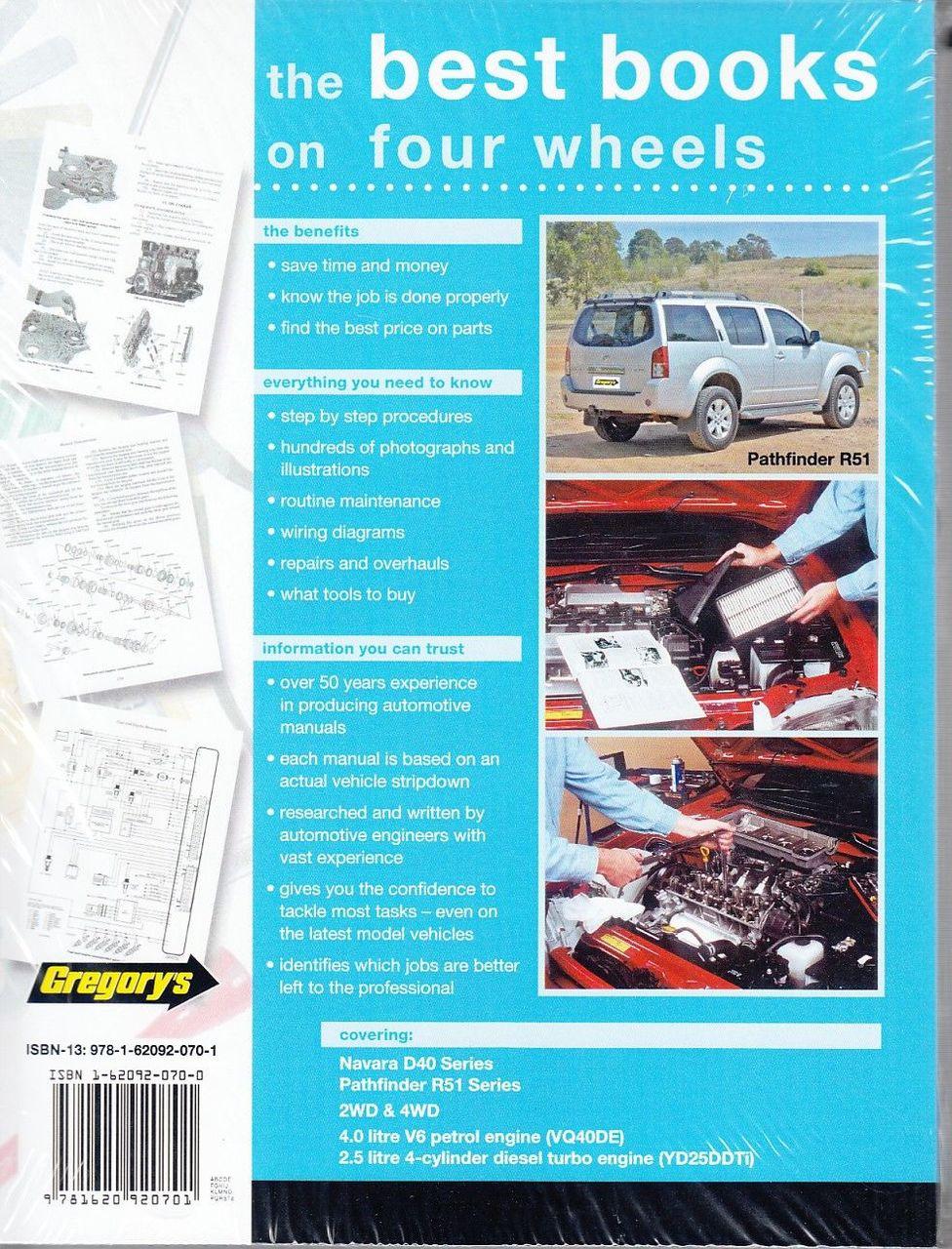 ... Nissan Navara, Pathfinder D40 & R51 Petrol, Diesel 2005 - 2013 Workshop  Manual Back