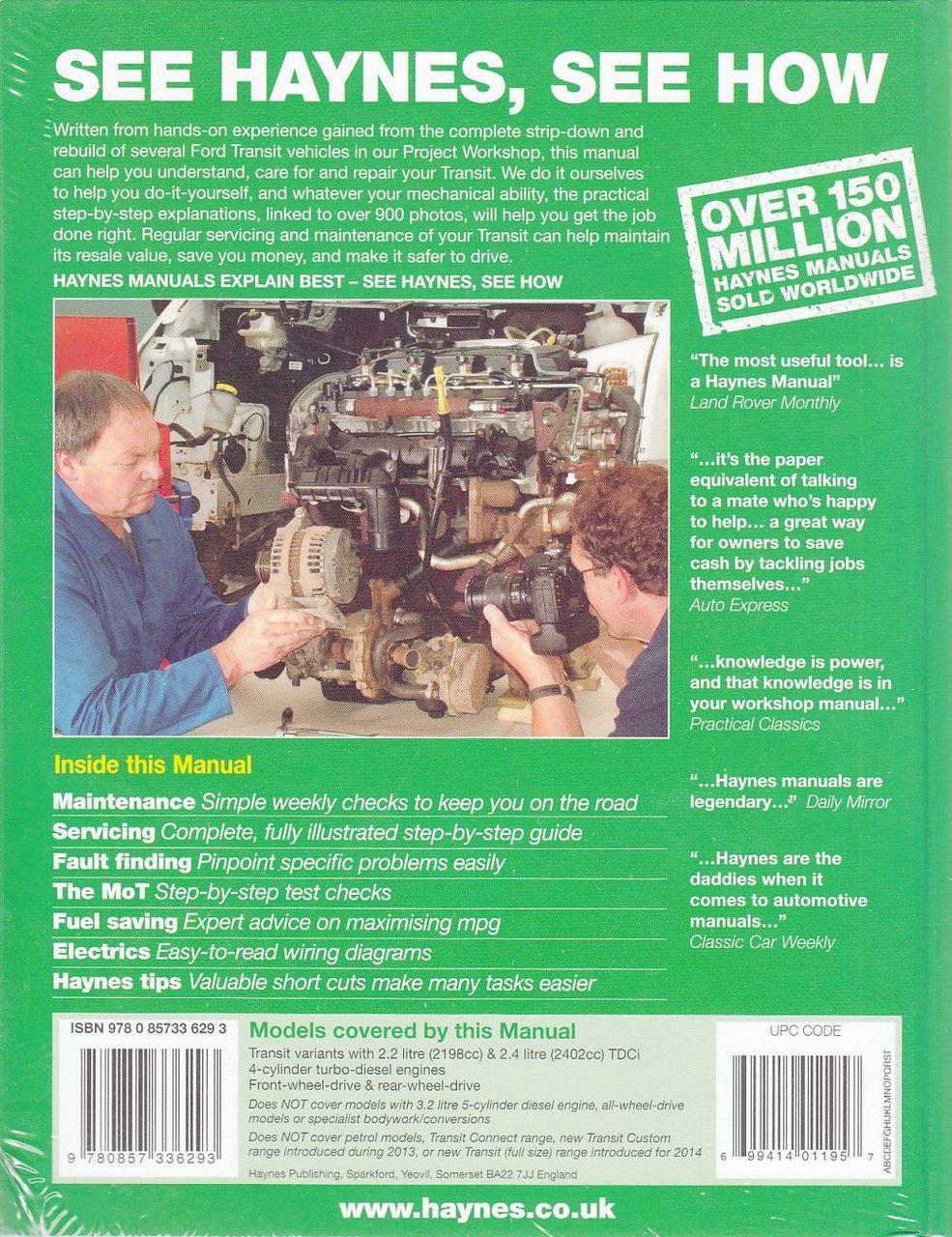 Ford Transit Diesel 2006 2013 Workshop Manual Haynes Wiring Diagram Back Cover