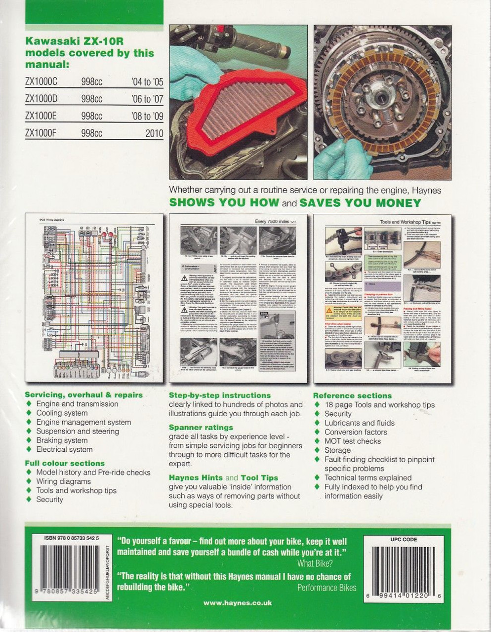 Kawasaki Ninja Zx 10r 2004 2010 Workshop Manual Klr650 A9 1995 Motorcycle Electrical Wiring Diagram All Back Cover
