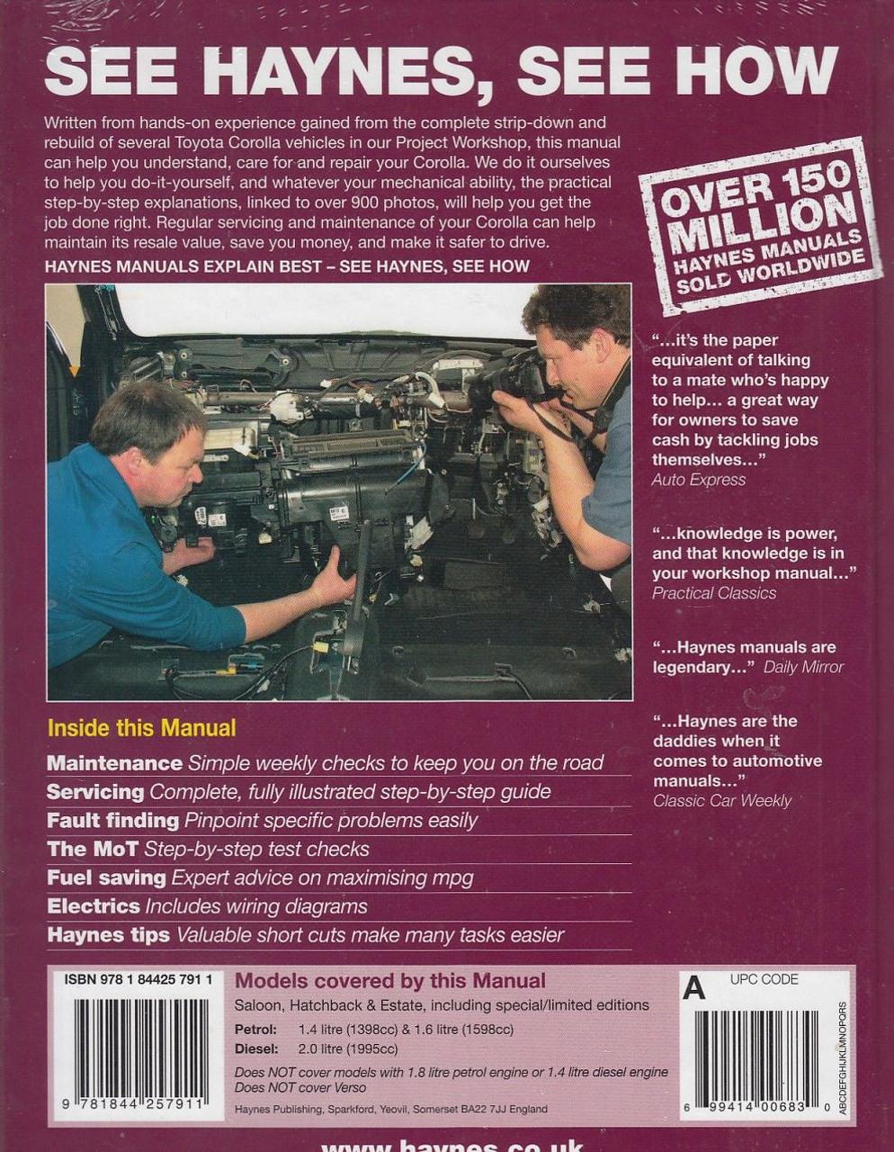 ... Toyota Corolla Petrol & Diesel 2002 - 2008 Repair Manual Back Cover