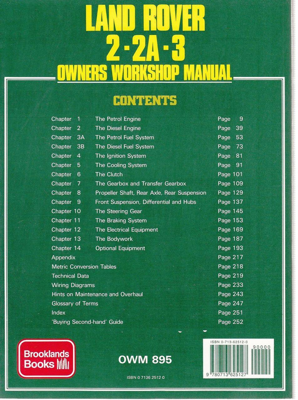 Land Rover 2 2a 3 Owners Workshop Manual Sd1 Ignition Wiring Diagram Petrol Diesel 4 6 Cylinder V8