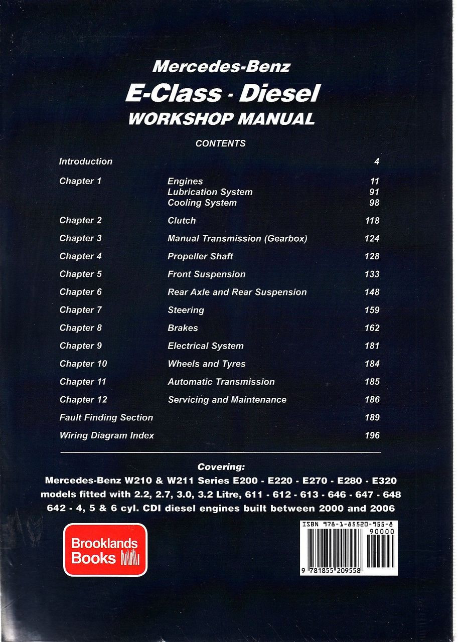 ... Mercedes-Benz E-Class W210 & W211 Series Diesel 2000 - 2006 Repair  Manual