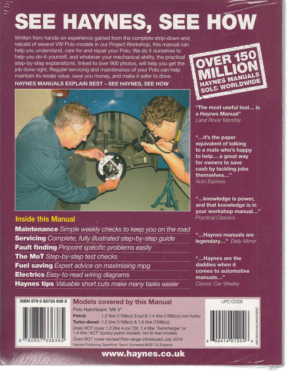 Volkswagen Polo 2009 2014 Petrol Diesel Owners Workshop Manual 2013 Passat Wiring Diagram Back Cover