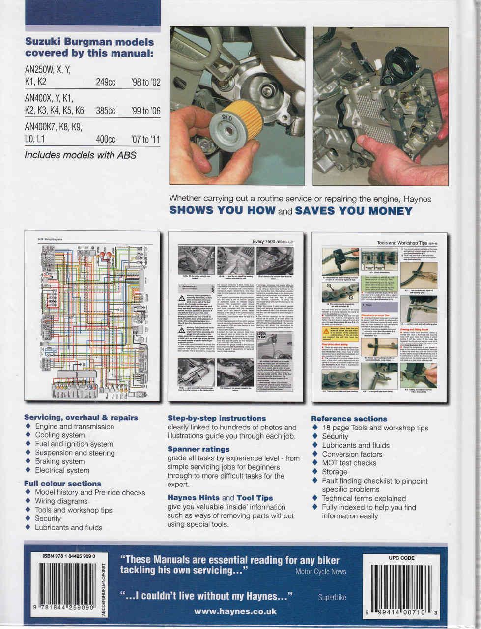 Suzuki Burgman 250 400 98 To 11 Service Repair Manual Dr250 Wiring Diagram