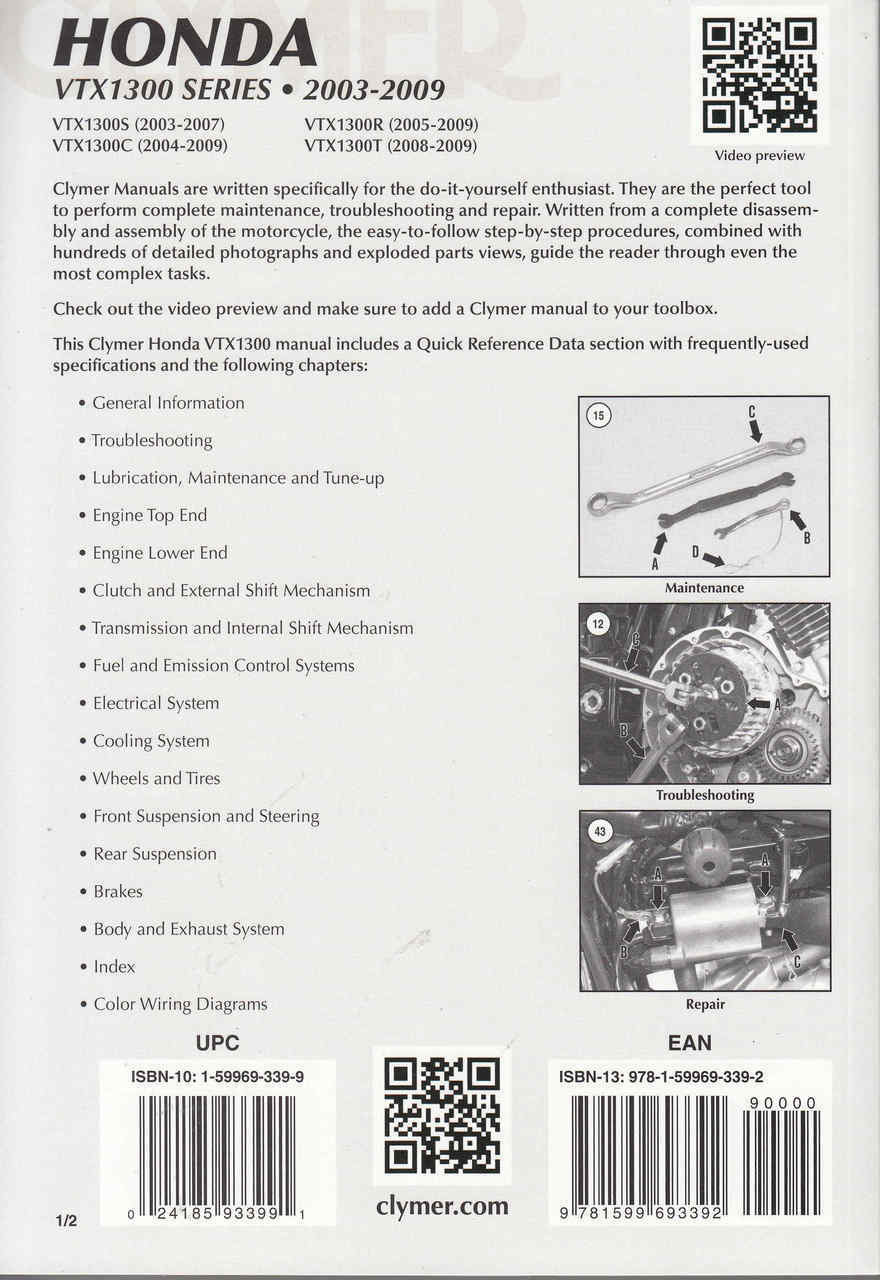 ... Honda VTX1300 - VTX1300S VTX1300C VTX1300R VTX1300T 2003 - 2009  Workshop Manual Back