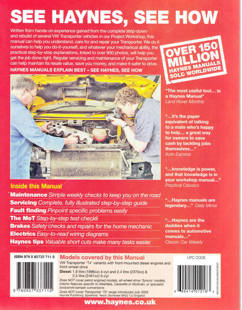 Vw Transporter T4 1990 To 2003 Diesel Workshop Manual Wiring Diagram Back