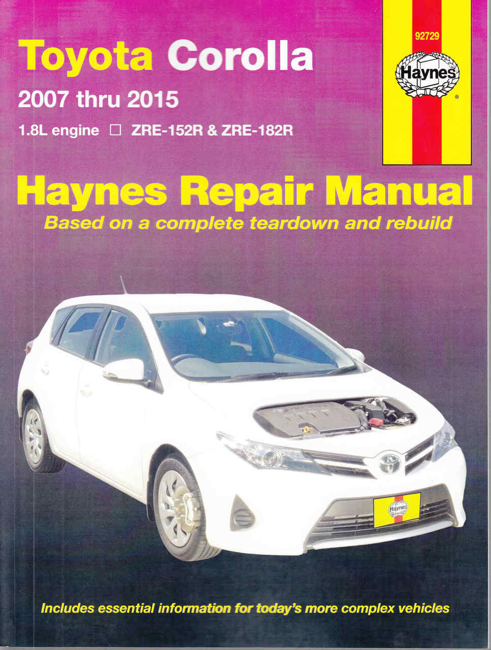 Toyota Corolla 18 Litre Engine Zre 152r 182r 2007 2015 1988 Ae92 Wiring Diagram Workshop