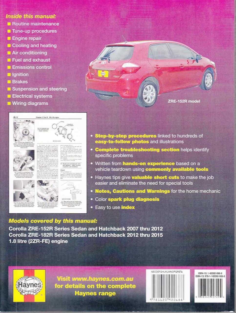 toyota corolla 1 8 litre engine zre 152r zre 182r 2007 2015 rh automotobookshop com au