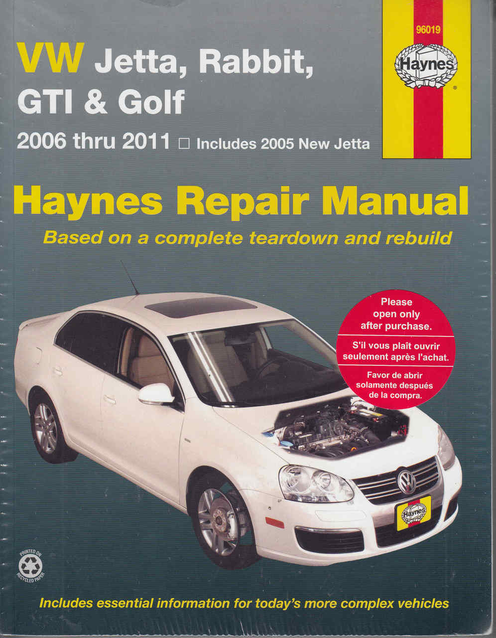 VW Jetta, Rabbit, GTi & Golf 2006 - 2011 Repair Manual - front ...