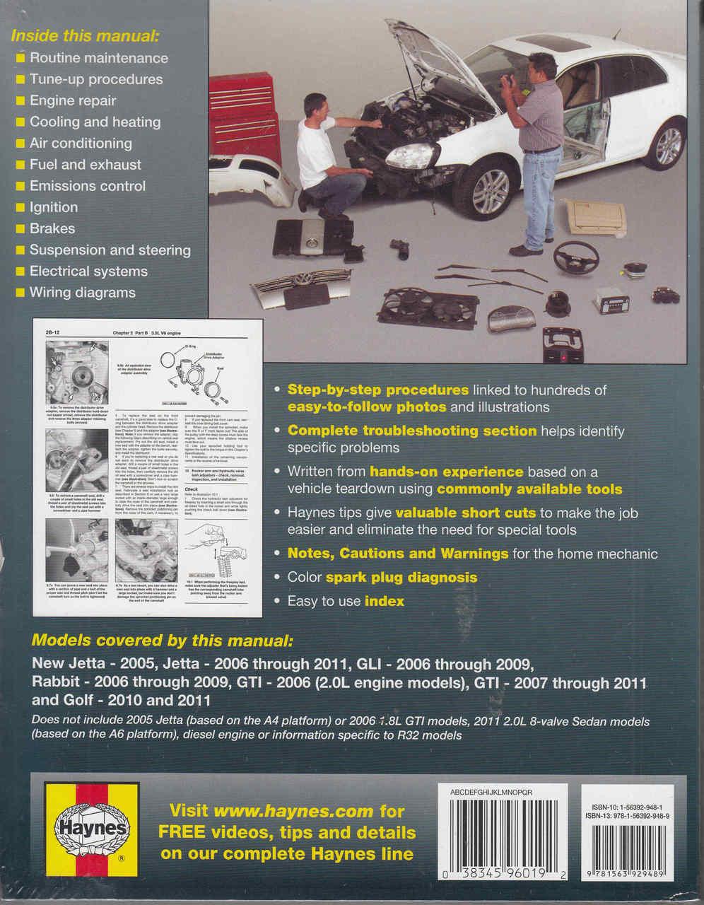 vw jetta rabbit gti golf 2006 2011 repair manual rh automotobookshop com au O4 VW Golf GTI Motor VW EA888 Engine