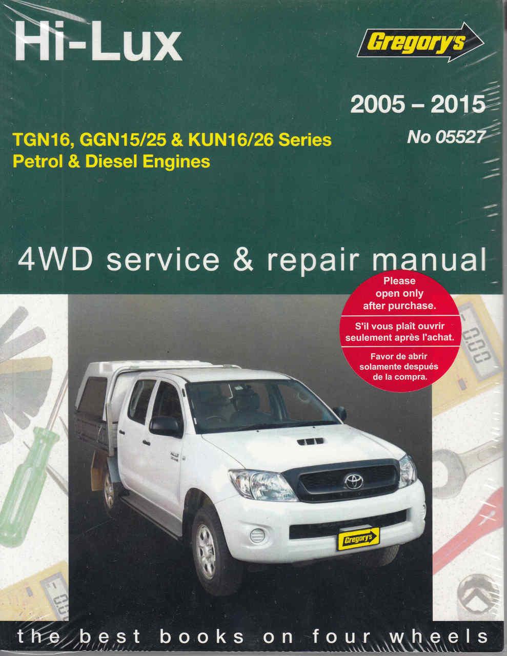 Toyota Hi-Lux TGN16, GGN15/25 & KUN16/26 Series Petrol & Diesel 2005-2015 Repair  Manual