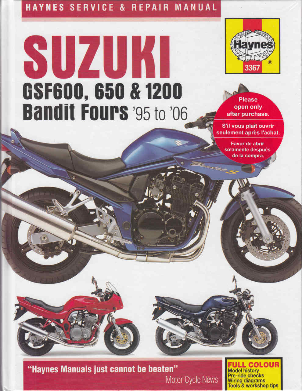Suzuki GSF600, 650 & 1200 Bandit Fours 1995 to 1996 Service & Repair Manual  ...