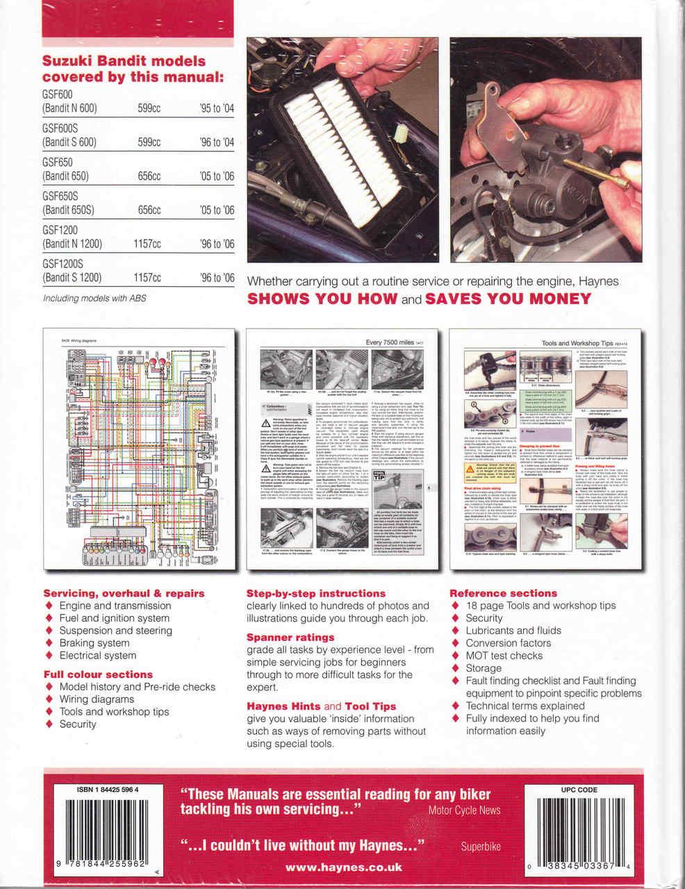 Suzuki Gsf600 650 1200 Bandit Fours 1995 To 1996 Service Repair 1998 Wiring Diagram Manual