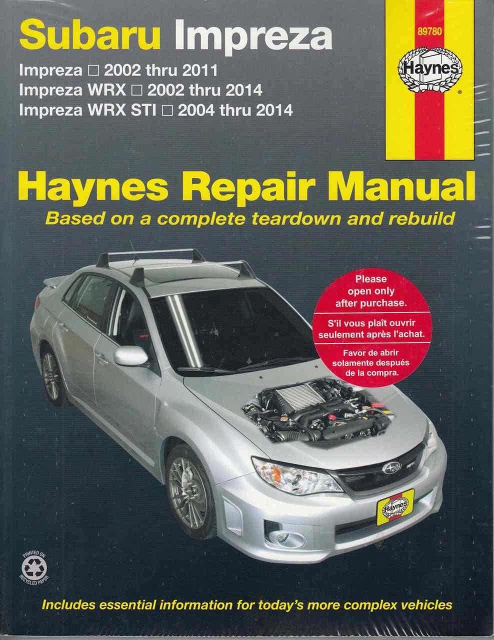 subaru impreza wrx sti 2002 2014 workshop manual rh automotobookshop com au  Subaru Owner Manual 1998 Subaru Legacy Fuse Diagram