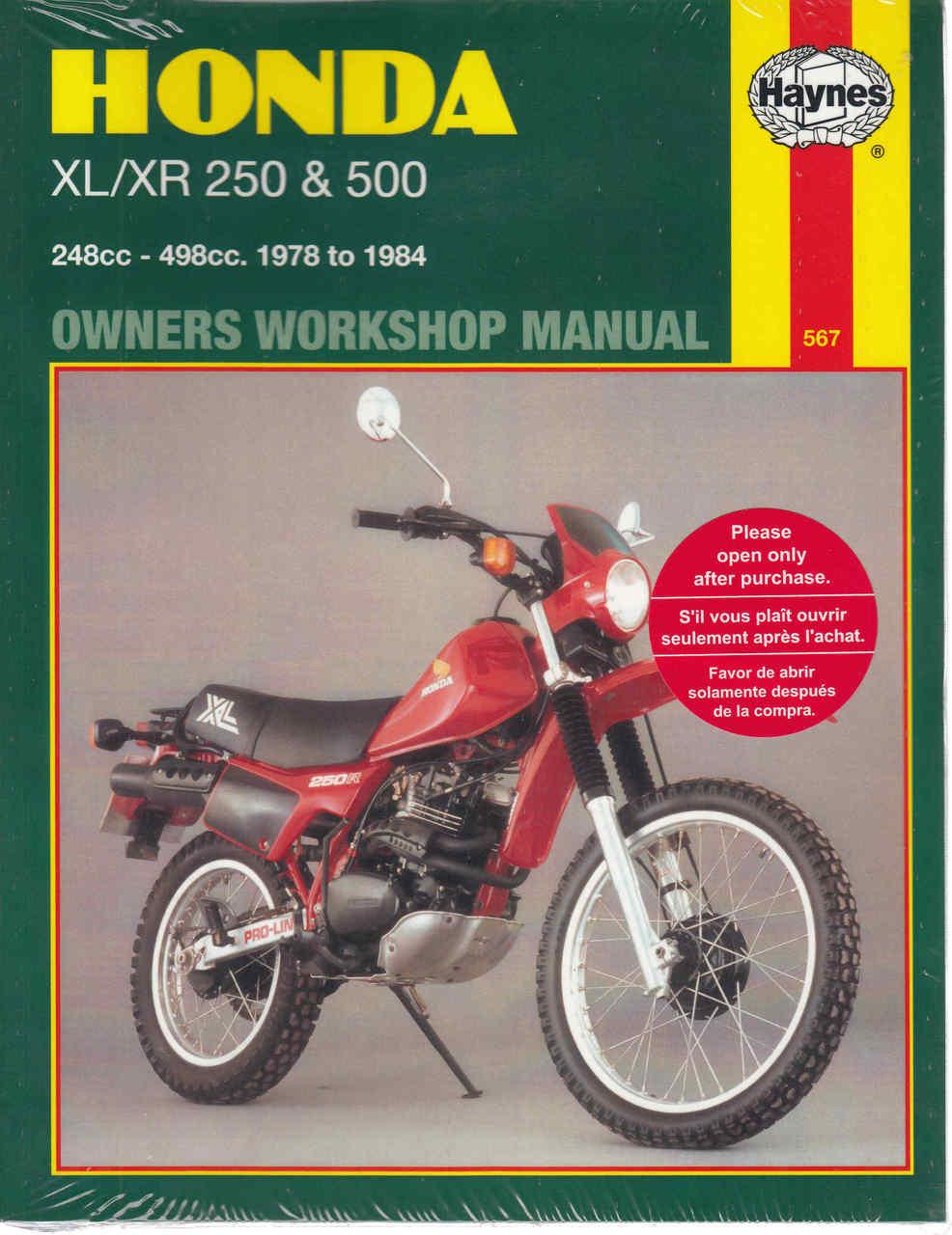 honda xl xr 250 500 1978 1984 workshop manual automoto bookshop rh automotobookshop com au Honda 750 Super Sport Super Sport