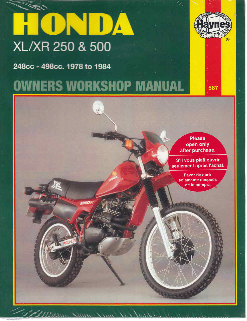 Honda XL / XR 250 & 500 1978 - 1984 Workshop Manual ...