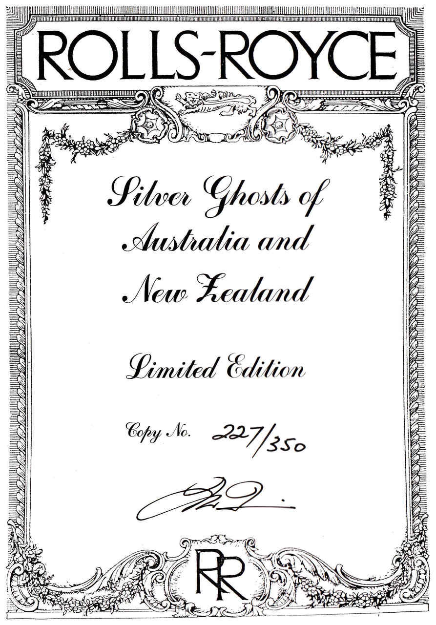 Silver Ghosts Of Australia And New Zealand (Number 227 of 350)