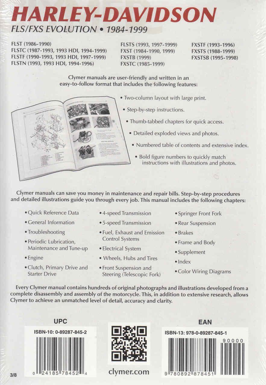 Harley Davidson Fls Cxs Evolution 1984 1999 Repair Workshop Manual 1996 Fxds Wiring Diagram Back
