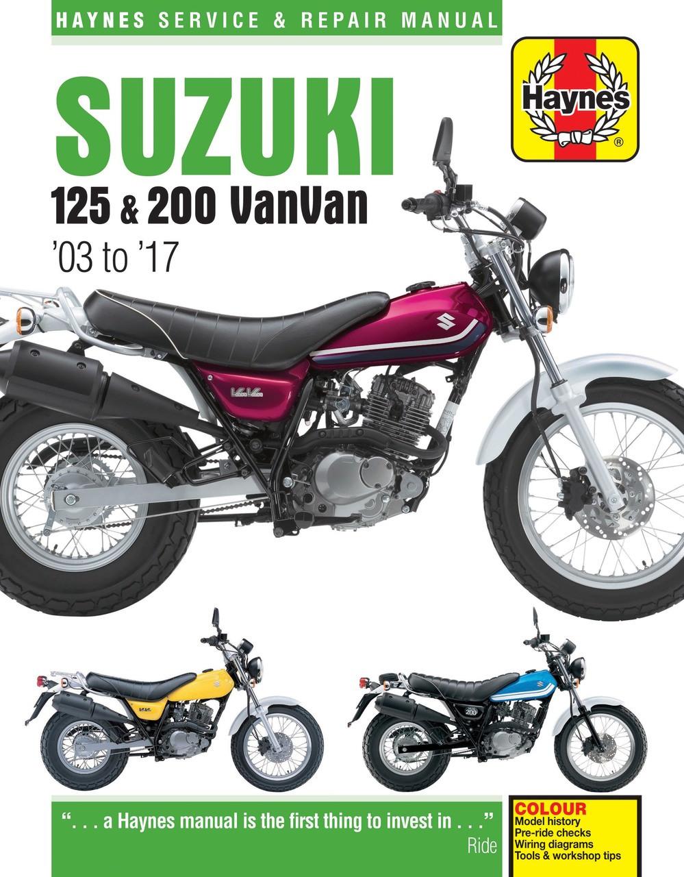 suzuki rv125 rv200 vanvan 2003 2017 workshop manual rh automotobookshop com  au suzuki van van 125 wiring diagram