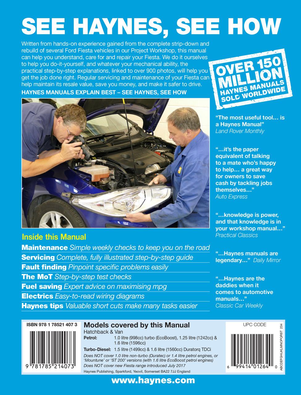ford fiesta petrol diesel 62 to 17 reg 2013 2017 workshop manual rh automotobookshop com au