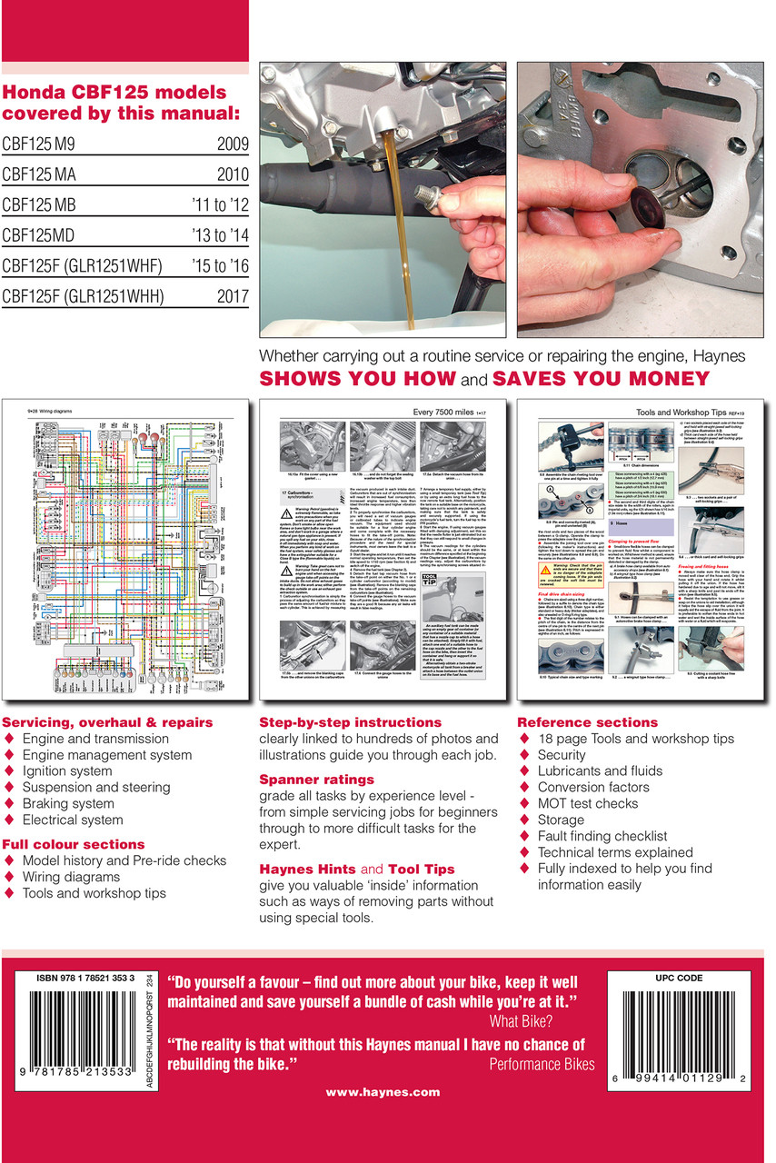 Honda Cbf125 09 17 Haynes Repair Manual Crf100f Wiring Diagram Cb125f 2009 2017 Workshop