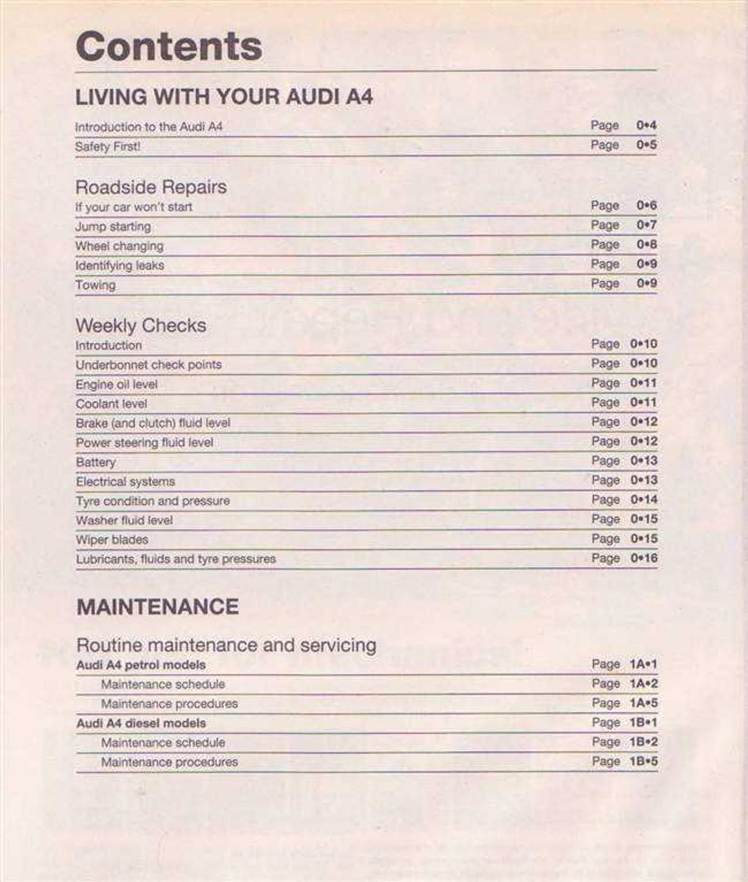 AUDI A Workshop Manual - Audi a4 maintenance schedule