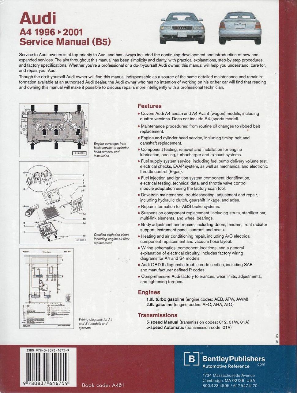 Audi A4 Bentley Manual 4000cs Fuse Box Diagram 86 Array B5 Incl Avant And Quattro 1996 2001 Workshop Rh Automotobookshop Com