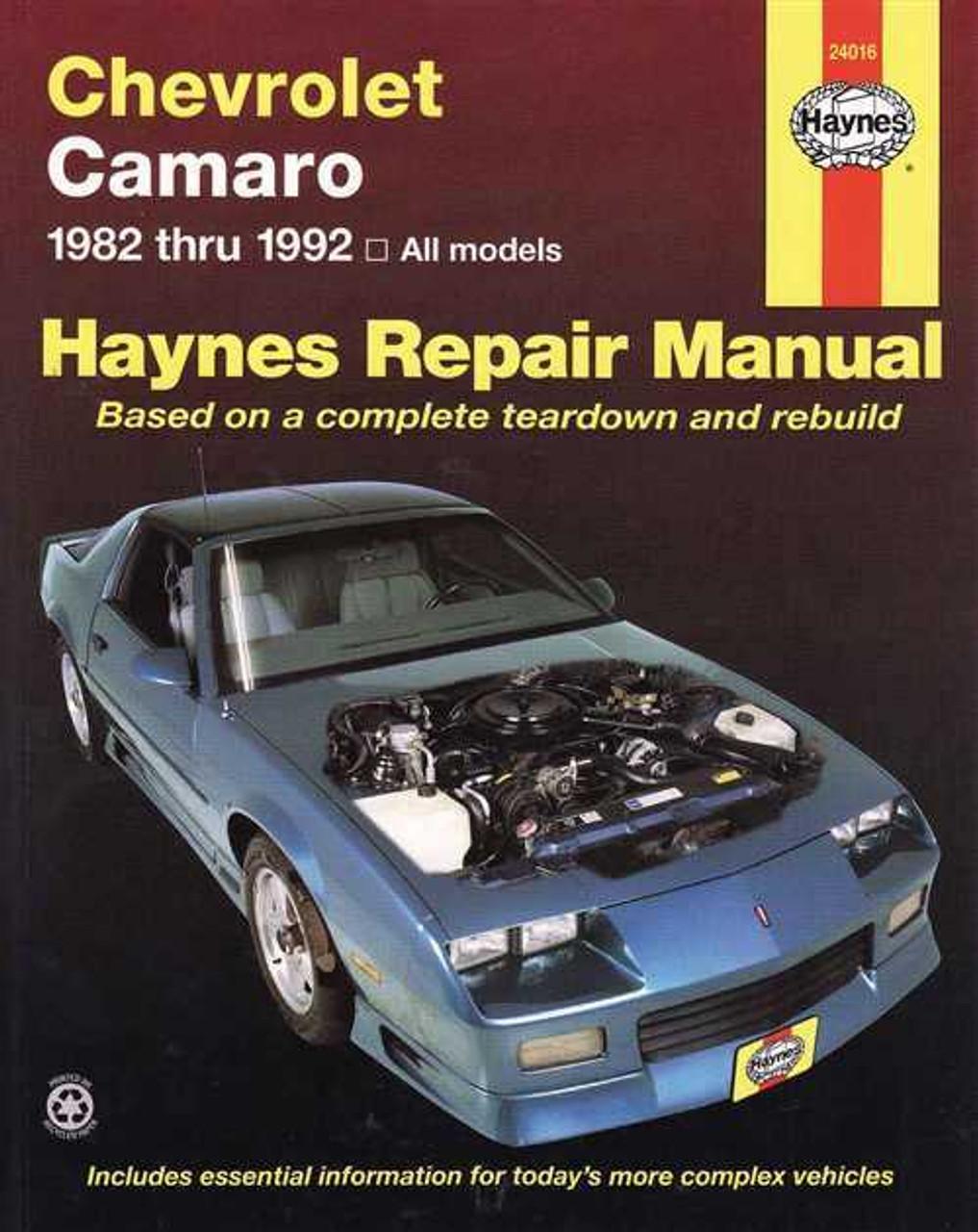 chevrolet camaro 1982 1992 workshop manual rh automotobookshop com au 88 Camaro Z28 1980 Camaro Z28