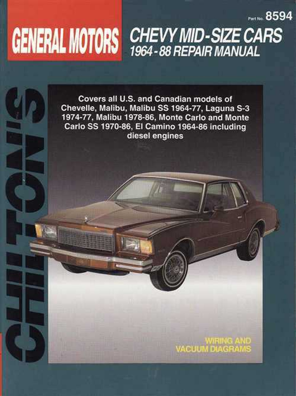 chevy mid size cars 1964 1988 workshop manual rh automotobookshop com au 1964 Chevelle Malibu Super Sport 1963 Chevelle
