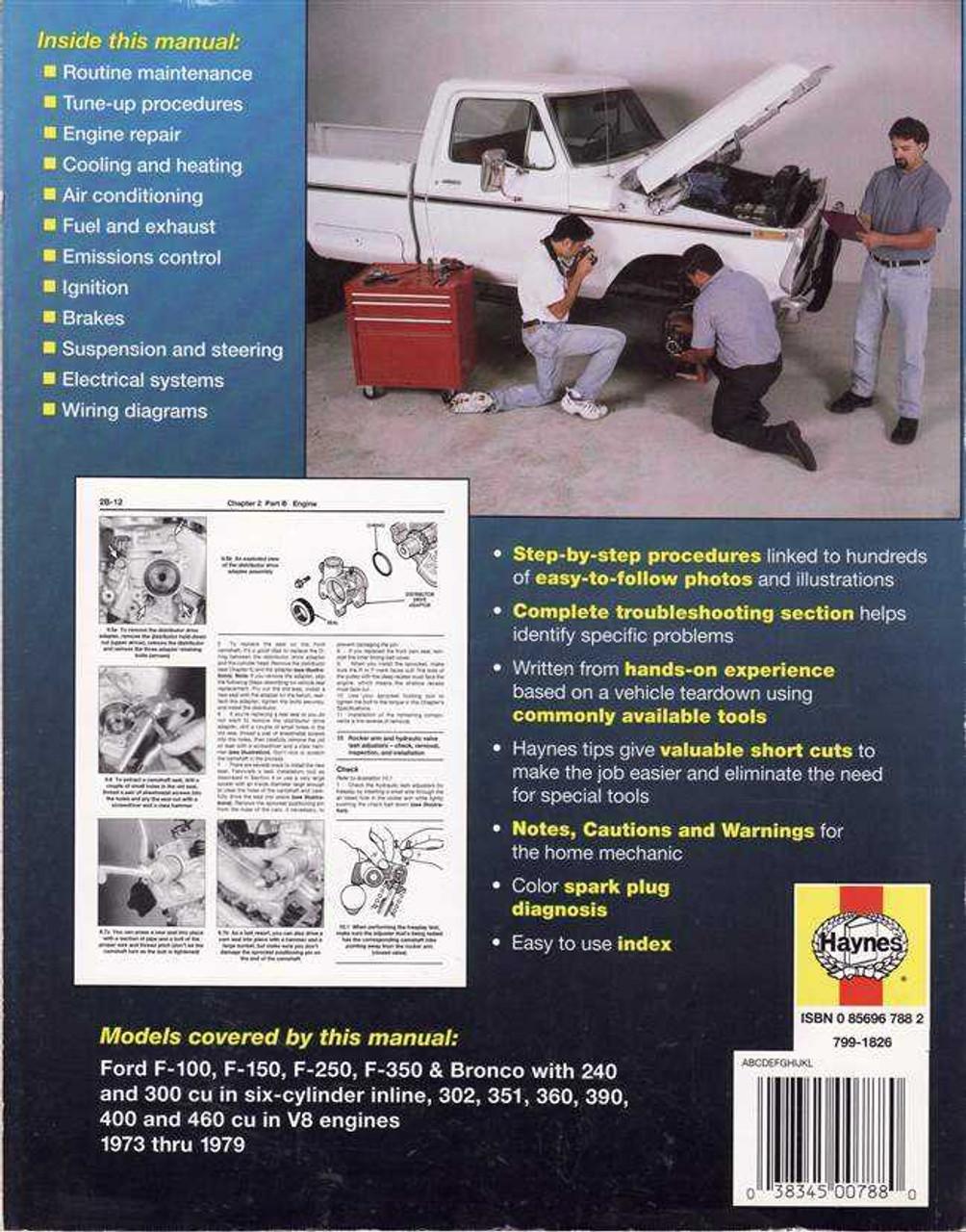 ford pick ups and bronco 1973 1979 workshop manual rh automotobookshop com au